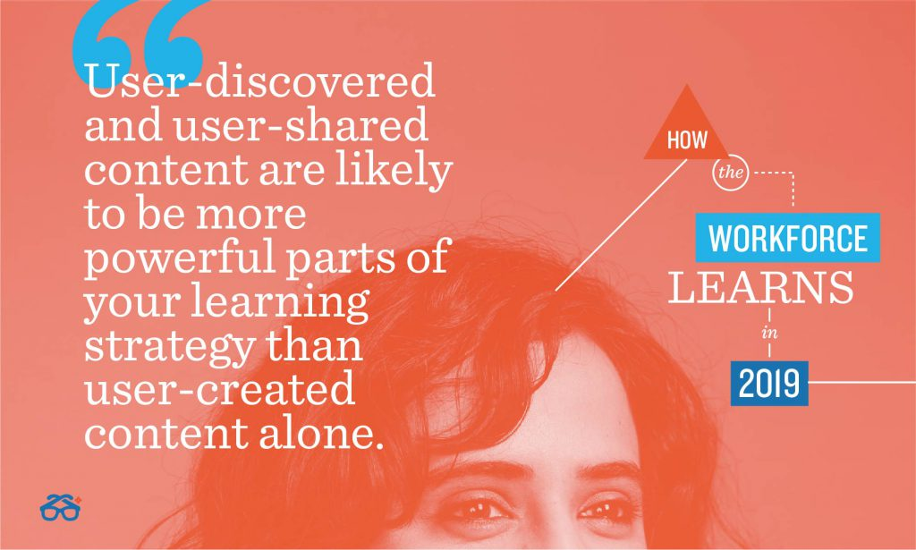 user discovered and user shared content are likely to be more powerful parts of your learning strategy that UGC alone