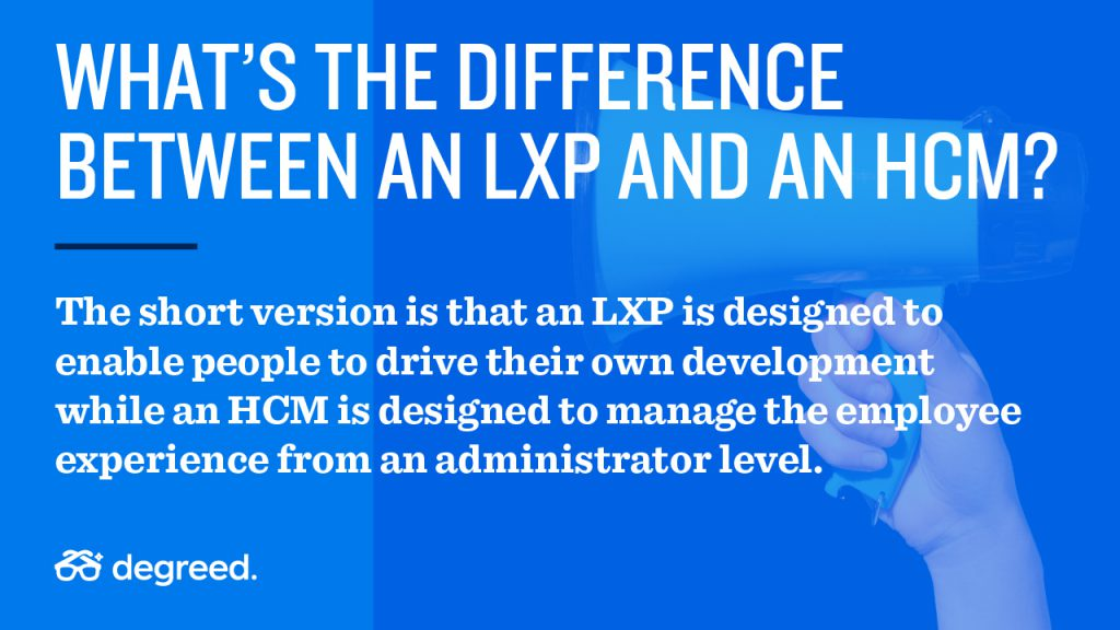Difference between an LMS, LXP, and HCM