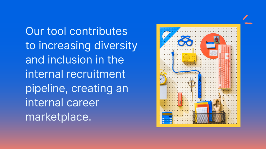 Our tool contributes to increasing diversity and inclusion in the internal recruitment pipeline, creating an internal career marketplace.