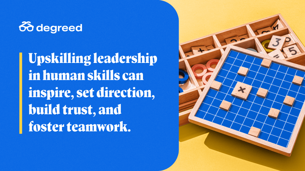 Upskilling leadership in human skills can inspire, set direction, build trust, and foster teamwork.